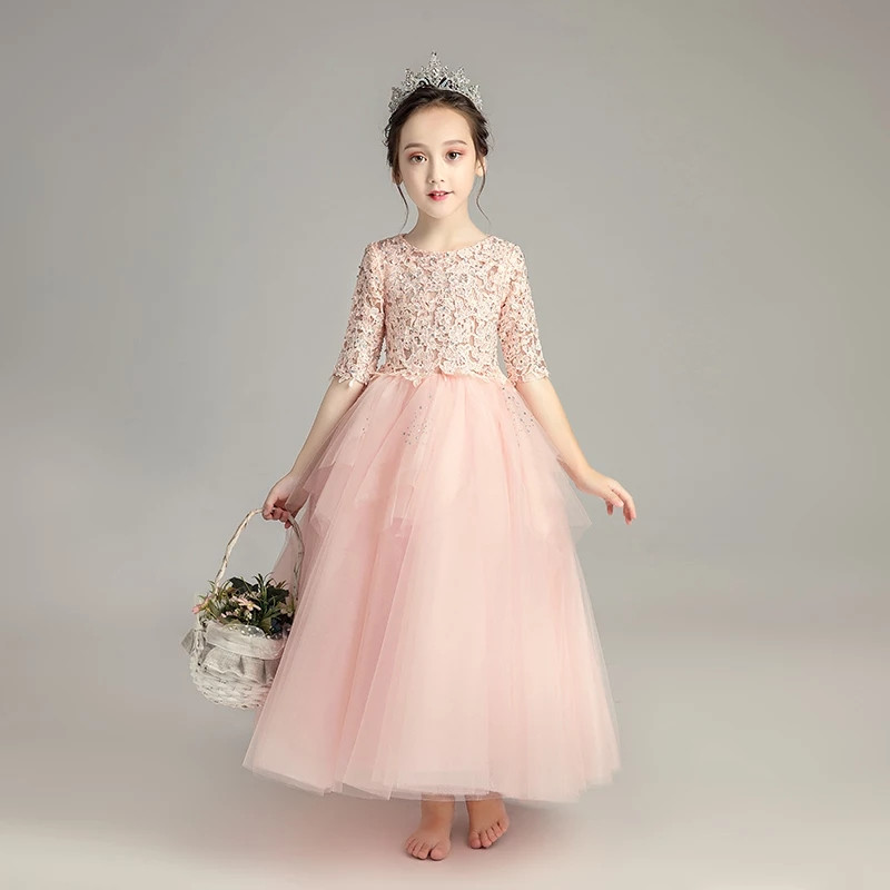 2018 New Style Princess Kids Girl Pink Lace Dress Children Teens Elegant Birthday Party Wedding Evening Ball Gown Formal Dress