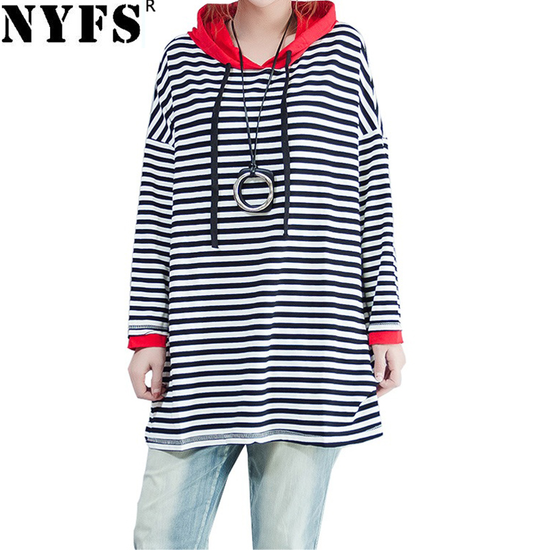NYFS 2018 New Spring Autumn women hoodies Loose Striped Simple comfortable pullover Hood ...
