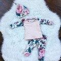 2017 Outono e inverno bebê menino roupa nova roupa do bebê nascido conjunto de algodão de mangas Compridas t-shirt impressão + calças 2 pcs terno de ouro M