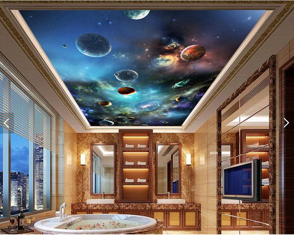 Custom ceiling wallpaper, cosmic starry solar system planet fresco for living room bedroom bar KTV backdrop home decoration custom 3d stereo ceiling mural wallpaper beautiful starry sky landscape fresco hotel living room ceiling wallpaper home decor 3d