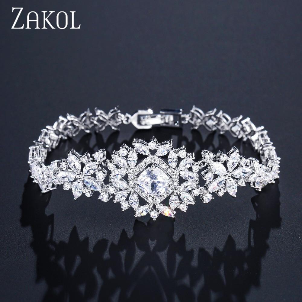 ZAKOL Classic Micro Inlay Cubic Zircon Watch Shape Bracelets/Bangle Luxury Silver Color Flower Wedding Jewelry For Women FSBP023 chic flower shape embellished bright color felt cloche hat for women
