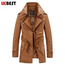 LKBEST 2017 долго кожаные куртки мужчины толстые теплые мужские кожаные куртки и пальто мода шерсть лайнер пальто бренд одежды (PY09)