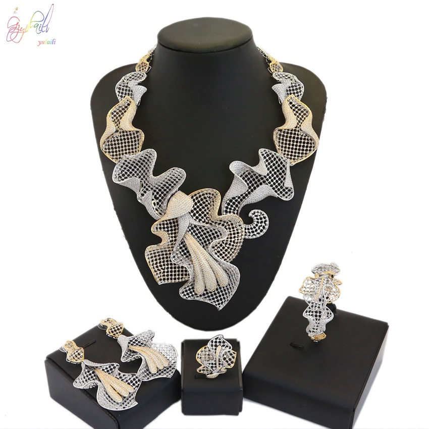 YULAILI 2018 New Coming Indian Design Party Costume Gold Color Zircon AD Jewelry Set for Wedding new coming smart design breast thermography inspection equipment for female self exam