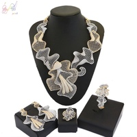 YULAILI 2018 New Coming Indian Design Party Costume Gold Color Zircon AD Jewelry Set for Wedding