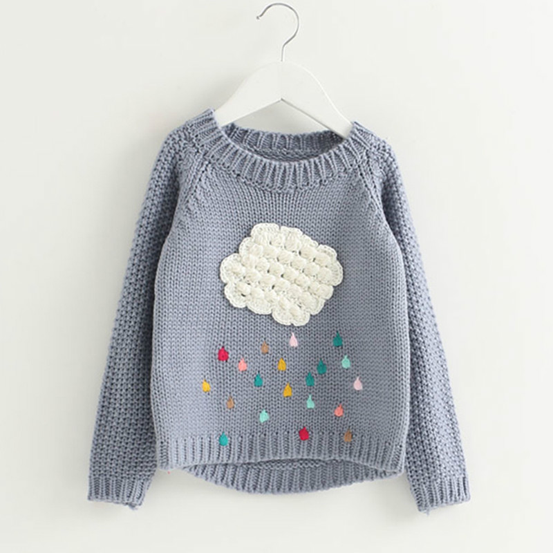 Girls Sweaters 2018 Spring Autumn Cute 3D Print Pearl Button Design Sweater Cartoon Fashion Children Coat for Kids Cloth