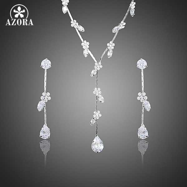 AZORA Elegant Clear Cubic Zirconia Small Flower Water Drop Earrings and Pendant Necklace Jewelry Sets TG0203