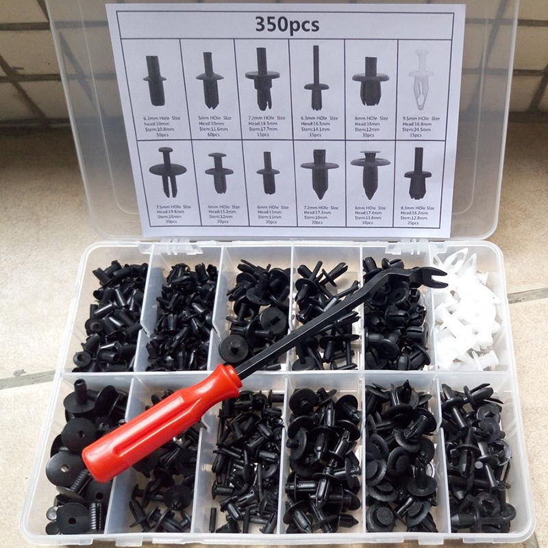350Pcs Car Body Plastic Push Pin Rivet Fasteners Trim Moulding Clip Screwdriver-in Auto Fastener & Clip from Automobiles & Motorcycles