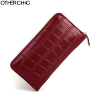 OTHERCHIC Women Elegant Retro Wallets Leather Ladies Fashion Alligator Long Wallet Coin Clutch Female Card Purse