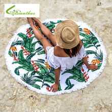 Verano Estilo Ronda Mandala Chal Playa Borla Franja Hoja Tropical Impreso Playa Tiro Redondo Estera Mantel Tapices De Pared