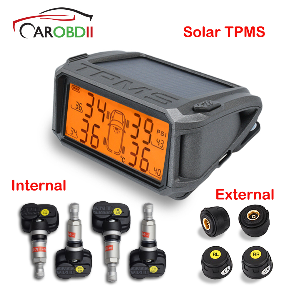 Car Security TPMS Tire Pressure Sensor Monitoring System Solar Car Monitor TMPS Systems Alarm Tyre Pressure Internal Sensors solar power wireless lcd tpms tyre tire pressure monitor system for car truck external sensor monitoring security alarm systems