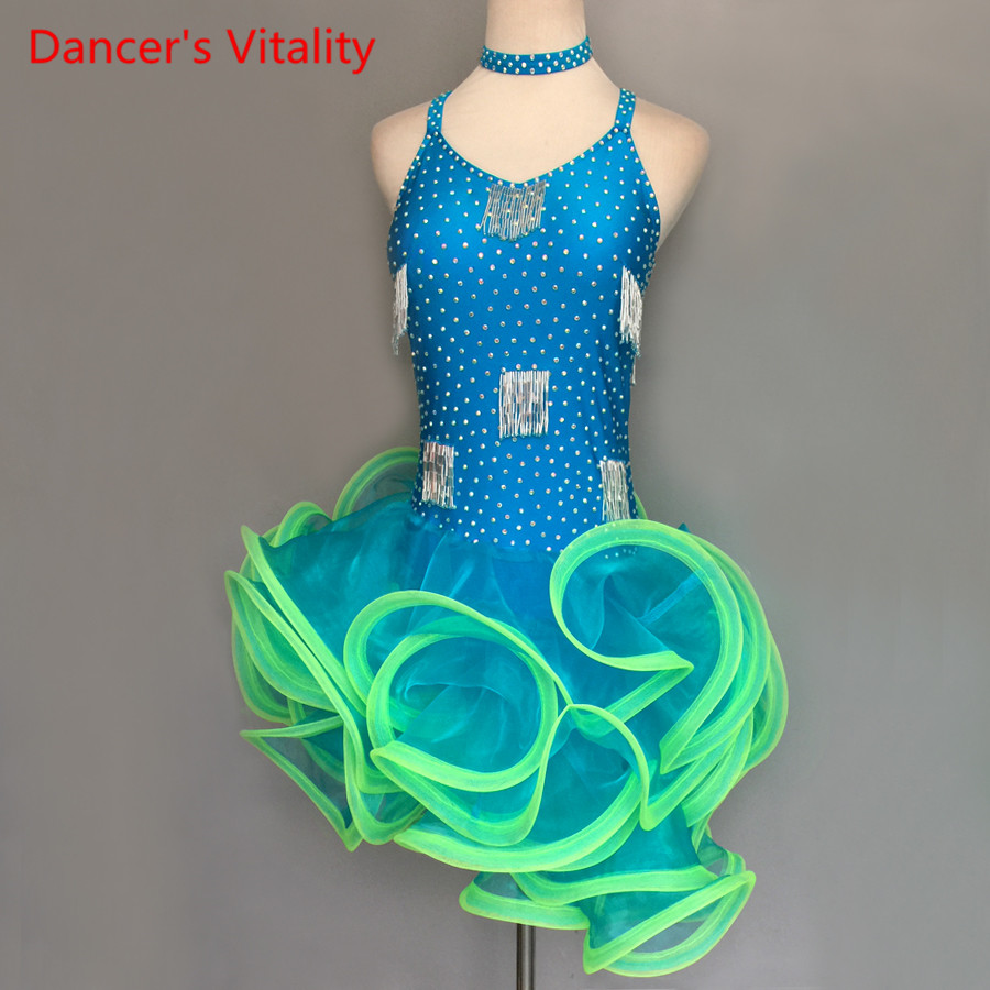 2018 Custom Made Girls Latin Dance Dress Sleeveless Backless Kids/Adult Dancing Stage Costumes Children Latin Competition Dress
