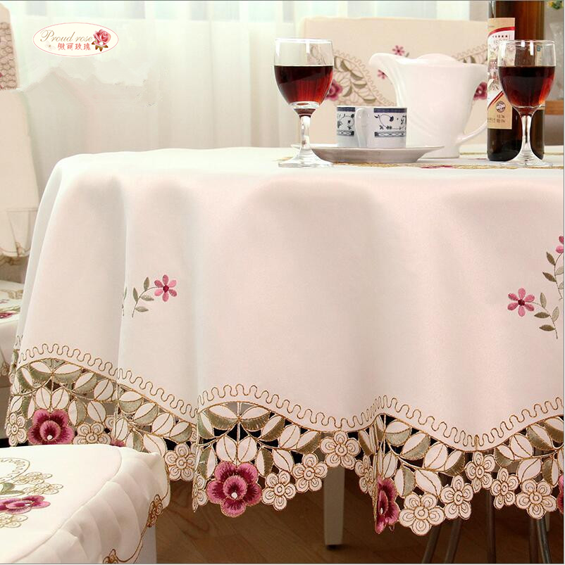 Bangku Rose Rounded Tapestra Beige Embroidered Tablecloths Table Cover Home Dapur Supplies Table Decoration