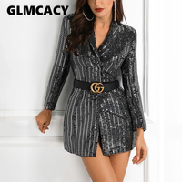 Women Elegant Sequin Blazer Jacket Fashion Female BlingBling Ladies Slim Blazers Office Lady Shinny Silver Sports Coat Outwear
