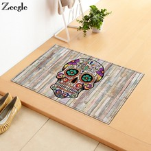 Zeegle Skull Printed Doormat Office Chair Floor Mats Hallway Rugs Anti-slip Bathroom Mats Kitchen Carpet Bedroom Bedside Rugs(China)