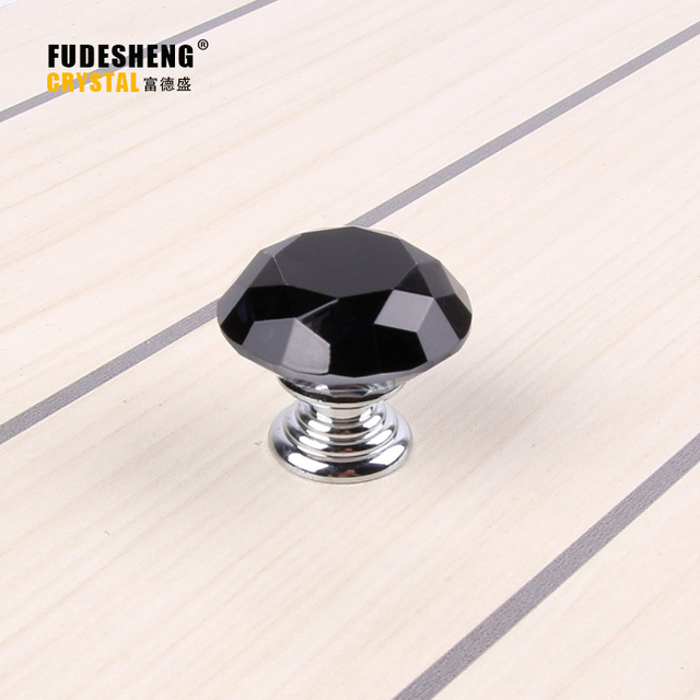 10PCS / Pack Furniture Drawer Handles Cabinet Door Decoration Accessories  Black Diamond Crystal Small Knob Handle