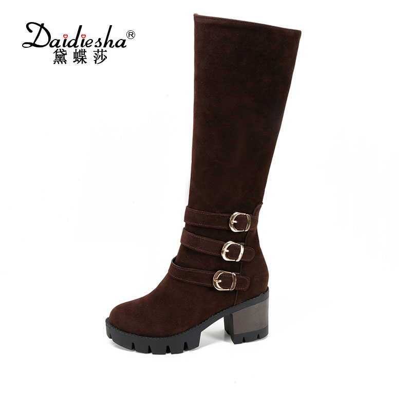 Daidiesha  Women Knee High Boots 2017 New Winter Black High Heels  Sexy Buckle Square Heel Flock Zipper Long Boots size 34-43 aftermarket free shipping motorcycle led tail light for 2006 2007 2008 2009 2010 2011 2012 2013 yamaha yzf r6 yzf r6 smoke