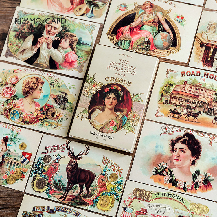 30Sheets/Set Retro Golden Age Postcard /Greeting Card/Message Card/Christmas and New Year gifts30Sheets/Set Retro Golden Age Postcard /Greeting Card/Message Card/Christmas and New Year gifts