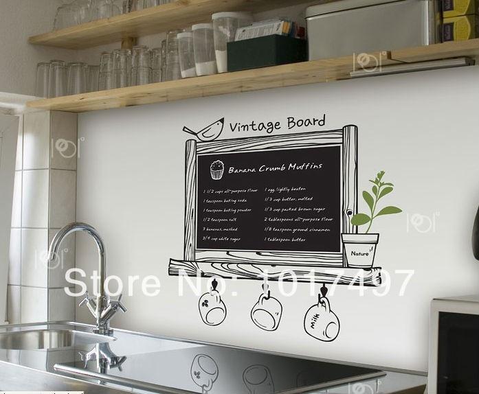 Wholesale Kitchen Chalkboard Free Shipping Via Express Modern Blackboard Removable Waterproof Vinyl Wall Sticker Kitchen Decor