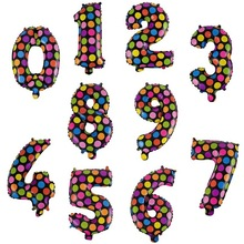 """No.0-9/Set Number Balloons 16"""" Cute Polka Dot Figure Number Foil Balloon for Wedding Anniversary Decoration Birthday Party"""