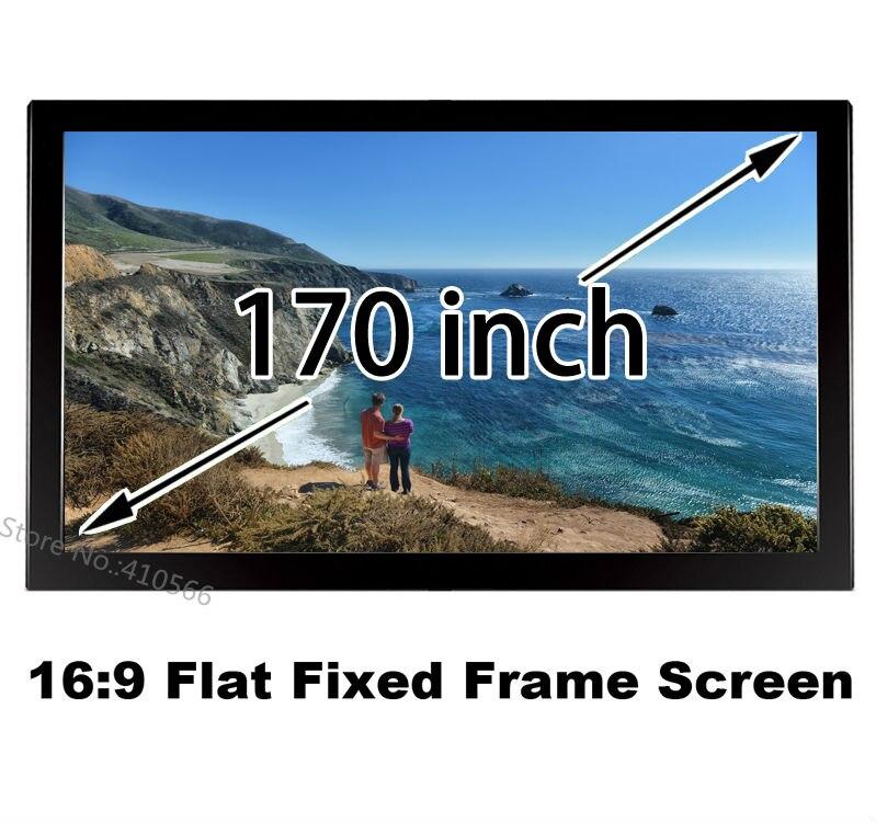 Tüketici Elektroniği'ten Projeksiyon Ekranları'de Toptan Düşük Fiyat HD Projeksiyon Ekranı 170 inç 16x9 Formatlı DIY Sabit Çerçeve Ekranları 160 Derece Görüş Açısı title=