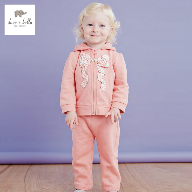 DB2899 dave bella spring autumn long sleeve baby clothing sets for girl printed sets baby clothing sets baby clothes girls 1set 2017 new style spring autumn hoodie baby girl clothing set sequin lace long sleeve velour sports jacket long trousers outfits