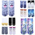 Cute 3D Socks Beauty Short Women Socks Printed Funny Socks Women Cotton Calcetines White Cat Multiple Colors Girls Printed Socks