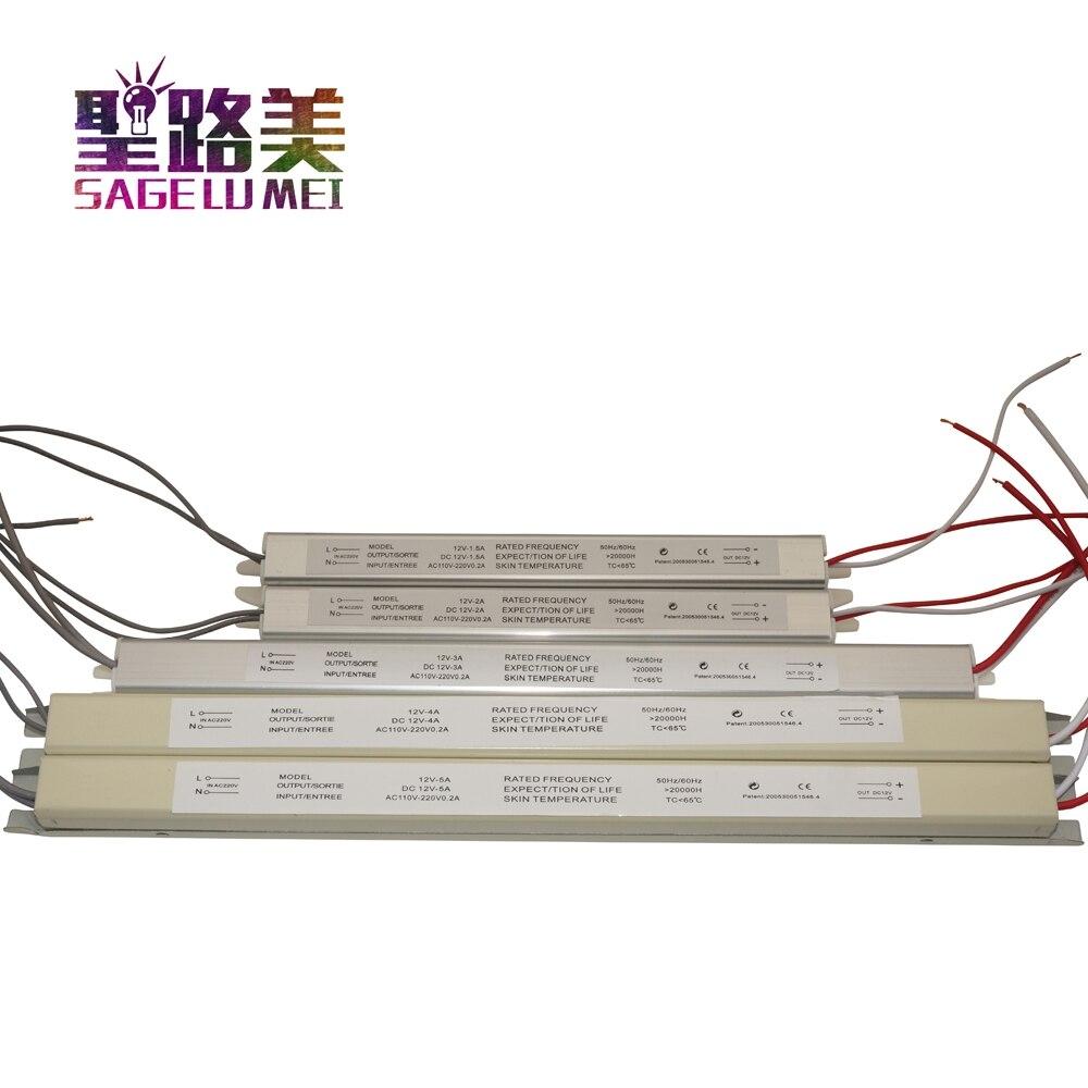 AC220V 12 V 1.5A 2A 3A 5A conductor Ultra delgado de conmutación de alimentación transformador de iluminación Para Slim publicidad Luz signos caja