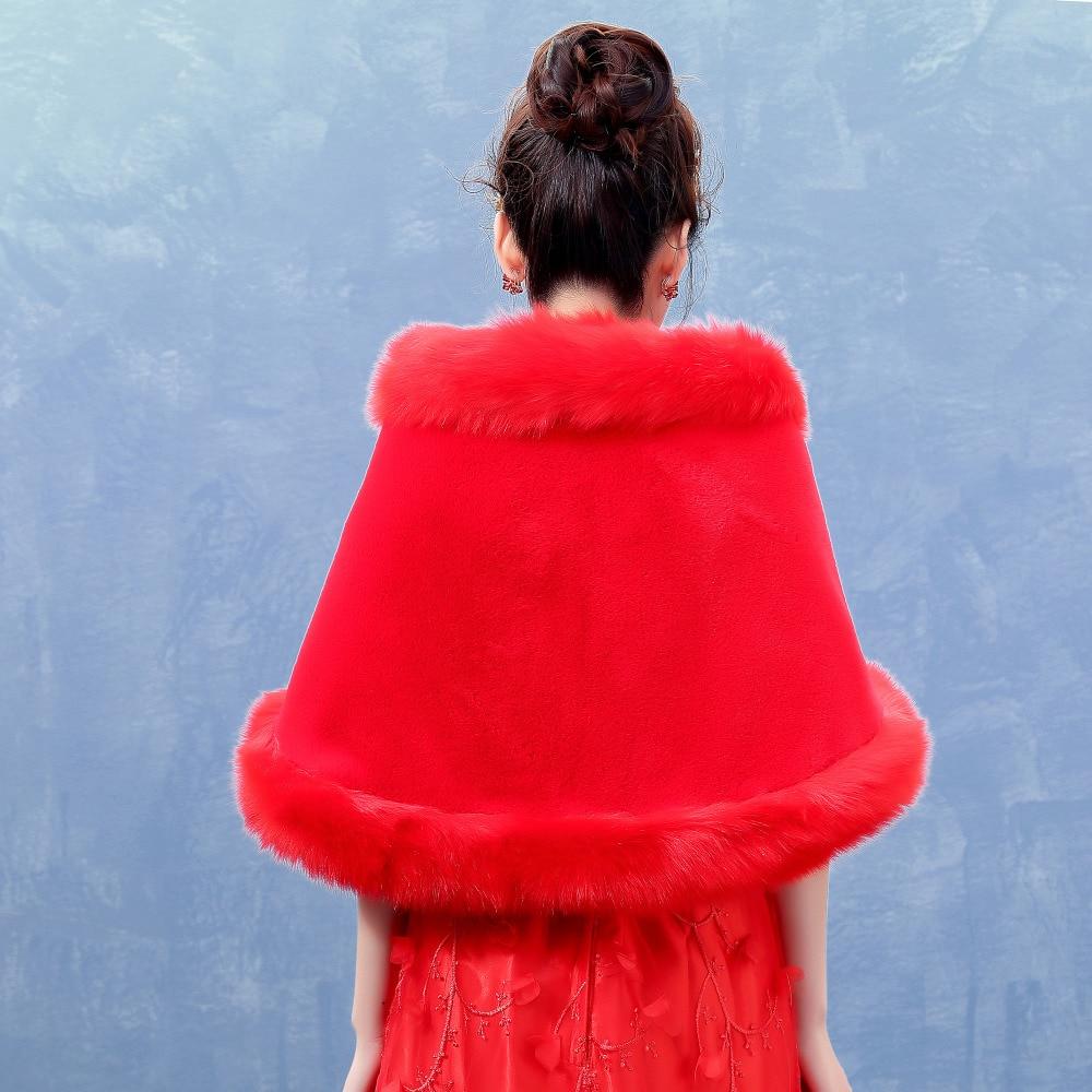 Bolero Rouge Mariage pour de luxe rouge en fausse fourrure châles avec diamant veste de