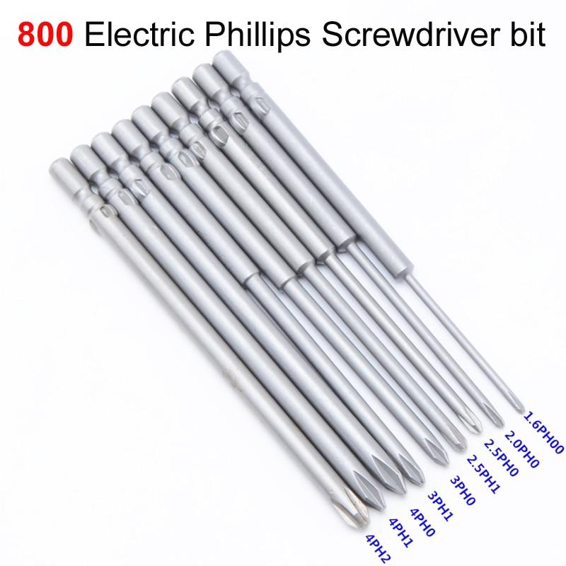 80mm Philips Magnetic Screwdriver Drill Bits PH00-PH2 Screw Nut 4mm Round Shank