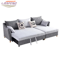 Fabric art folding sofa bed adds a storage box .Northern Europe simple multifunctional dual purpose push pull sofa bed
