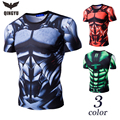 2017 New Fitness Compression Shirt Men Mechanical armor 3D Bodybuilding Short sleeve T Shirt  Crossfit Slim t shirts Size XXL AD