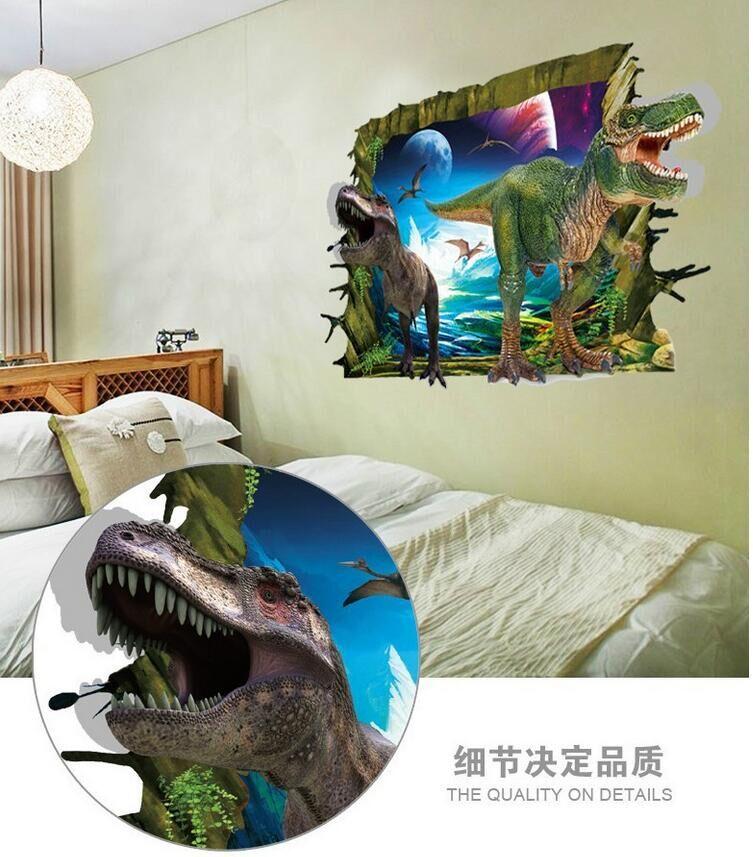 3D Muurstickers Voor Kinderen Kamers Dinosaurus Wereld Sticker Wall ...