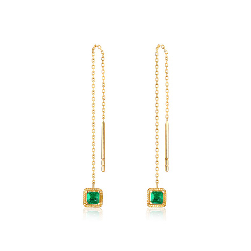 JXXGS Jewelry 14K Gold Earring Line Green Cubic Zircon Earrings Square Drop Earrings For Women