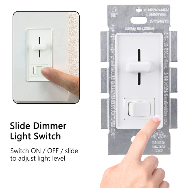 new arrive 110 120v ac slide dimmer light switch on off slide
