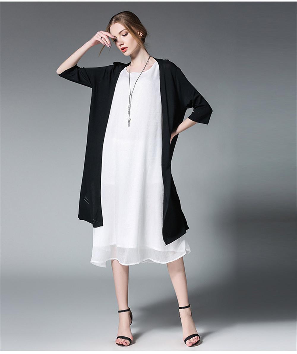 Fashion White Women Long Tank Dress 2017 New Summer Autumn Retro Sleeveless Chiffon Designs Casual Dresses Slim Plus size XXXXL 16