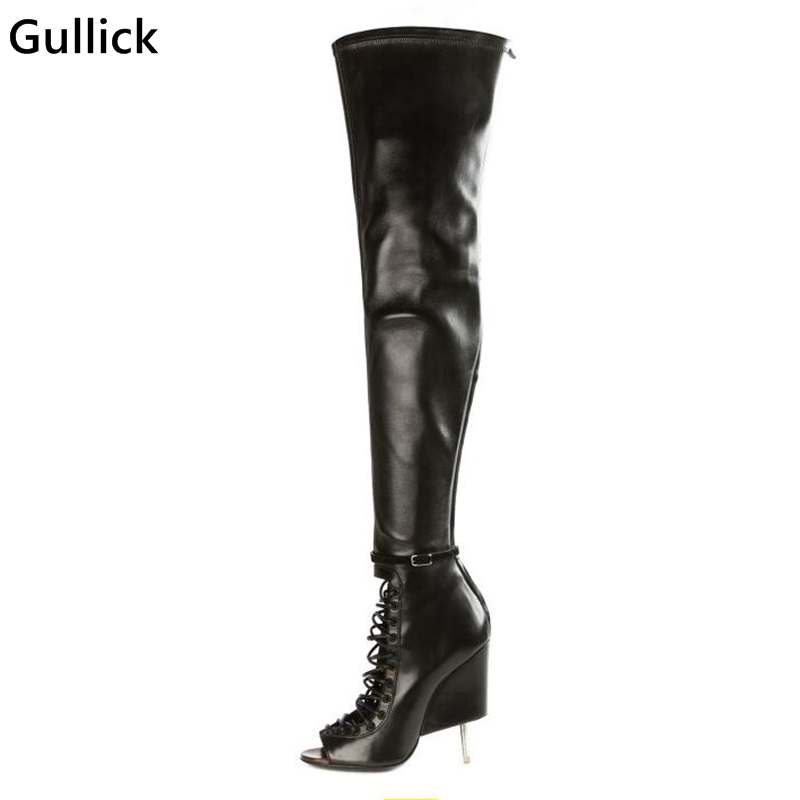 High Quality Women Over The Knee High Heel Boots Peep Toe Black Color Strech Leather Ladies Sexy T Thigh Summer Sandal Boots hot boots women sexy black thigh high boots peep toe soft leather back zip high heels over the knee boots gladiator sandal boots