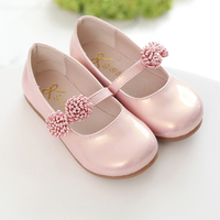 Pink Children Flowers Girls Kids Leather Princess Shoes For Teens Teenagers Girls Baby Party Wedding Dance
