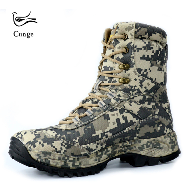 Outdoor Camouflage Hiking Shoes Boots Army Desert Military Tactical Boots Shoes Waterproof Anti-skid Combat Boots High/Low