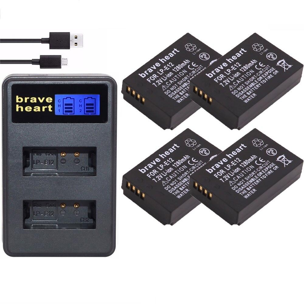 2x Lp-e12 Lpe12 Lp E12 Kamera Batterie Bateria Batterie Akku Dual Typ-c Ladegerät Für Canon M 100d Kuss X7 Rebel Sl1 Eos M10 Dslr Digital Batterien