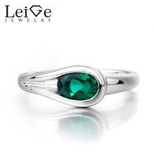 Leige Jewelry Emerald Silver Ring Wedding Ring May Birthstone 925 Sterling Silver Fine Jewelry Gifts Green Gems Female Rings