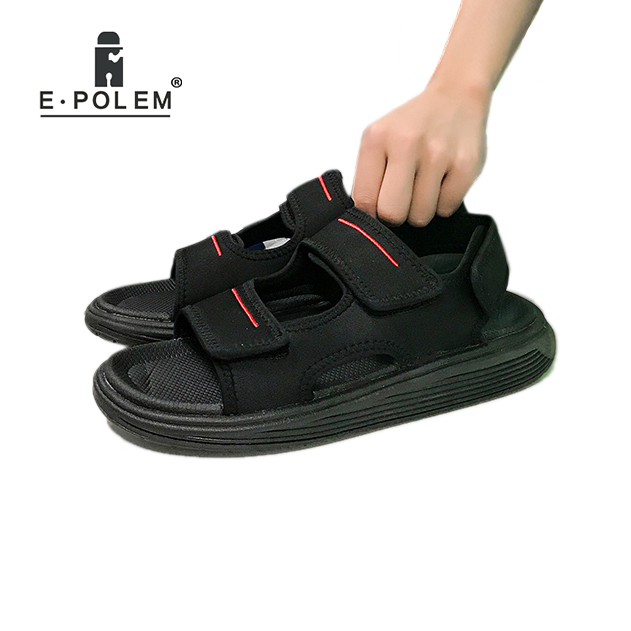 Fashion Summer Men Sandals Hook&loop Mens Summer Shoes 2018 Fashion Waterproof Casual Beach Shoes Size:39-44 Black