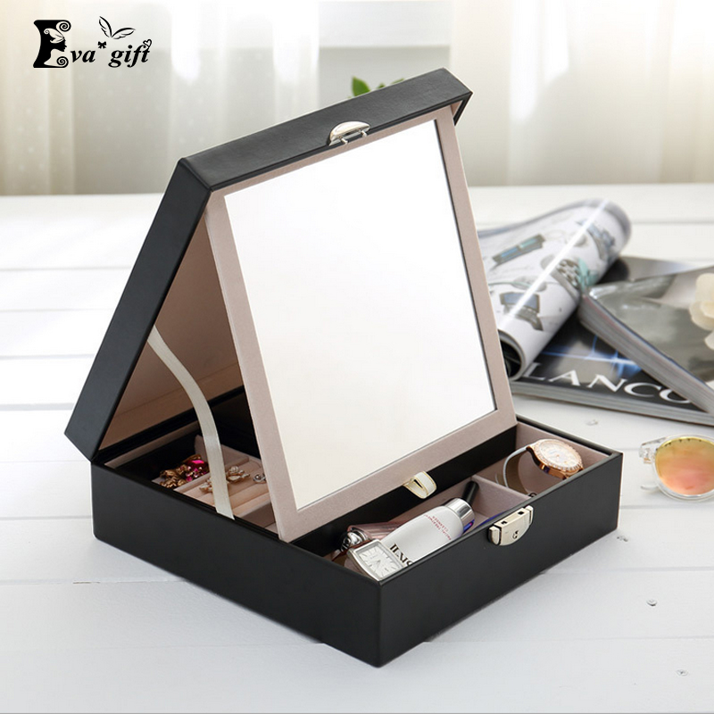 Ева подарок кожаная шкатулка multi косметические и ювелирные изделия Организатор с большим зеркалом хранения Шкатулка Контейнер для путешествия дело
