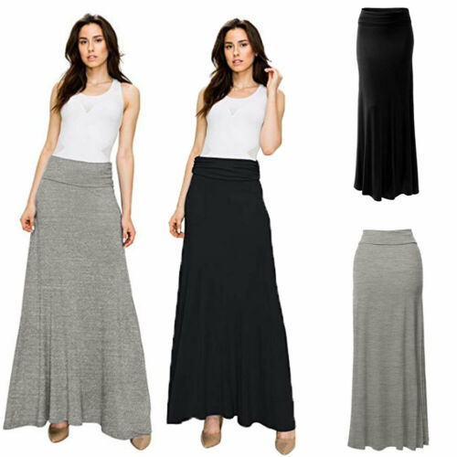 2019 Summer Women Sexy Solid High Elastic Waist Fold Over Long Jersey Maxi Skirt