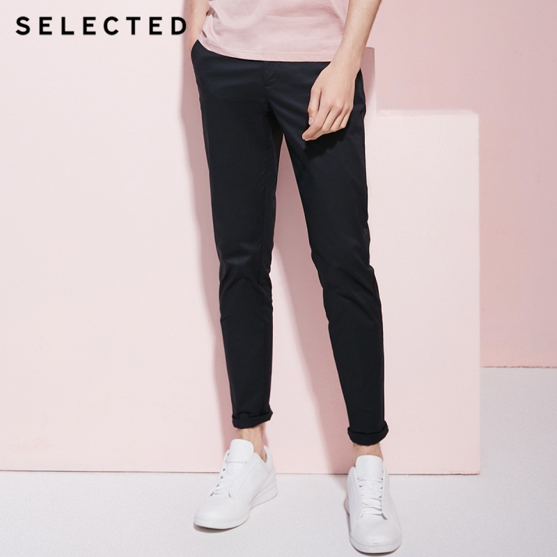 SELECTED new men's elastic cotton solid color simple slim casual pants C|4182W2532