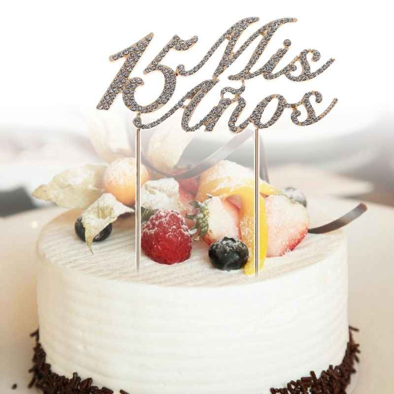 Magnificent Sparkling Bling Number 15 Mis Anos Letters Cake Topper Rhinestone Funny Birthday Cards Online Chimdamsfinfo