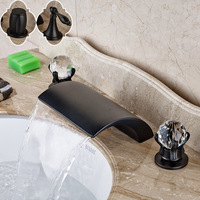 Good Quality Waterfall Faucet Dual Cristal Handles Brass Widespread Basin Mixer Tap Deck Mounted 3 Holes