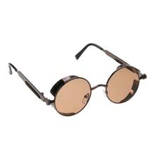Retro Steampunk Sunglasses Women Men Vintage Round Chic Metal Punk Mirror Sun Glasses Oculos De Sol Feminino