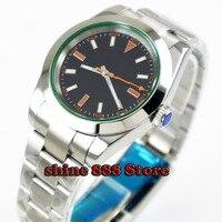 40 ミリメートル滅菌ダイヤル発光サファイアガラスオレンジ手ポリッシュベゼル自動ムーブメントメンズ腕時計