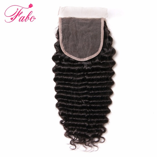 Brazilian Deep Wave Closure Fabc Human Hair Free Part Remy Hair Lace Closure 130% Density 1 Piece 10-20 Inch Natural Color