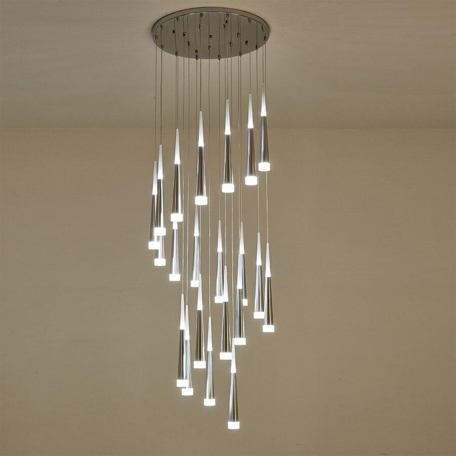 €42.35 16% de réduction|Escalier moderne lustre plafond éclairage intérieur  Long escalier lustre lampe suspendue lustres suspendus luminaire-in ...